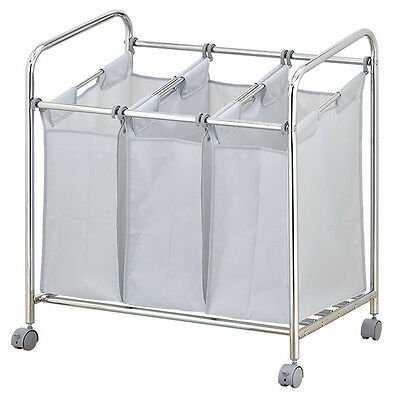 3 Bags Sections Heavy Duty Laundry Sorter Trolley Bathroom NEW Compartments Sort