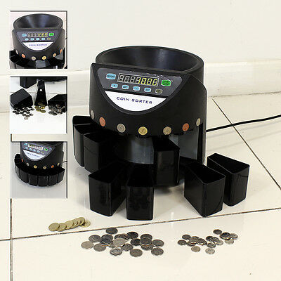 Coin Counter Sorter Money Cash Counting Electronic Machine Digital Black