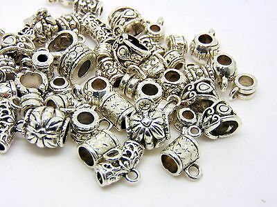 30g Pack Mixed Style Tibetan Silver Fancy Jewellery Bails Hollow Findings F62