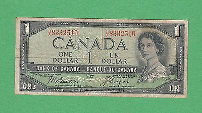 1954 Bank of Canada - $1 Devil Face Bank Note - Beattie Coyne - H/A 8332510