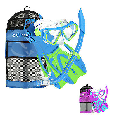 U.S. US DIVERS DORADO CHILDRENS KIDS SNORKEL SET 4pc MASK + SNORKEL + FINS + BAG