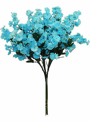 12 Baby's Breath ~ TURQUOISE BLUE ~ Gypsophila Silk Wedding Flowers Centerpieces