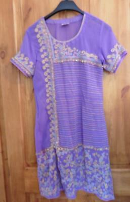 10-12 M DRESSY DAIS purple kameez indian pakistani purple lightweight long tunic