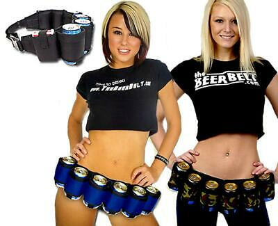 Outdoor 6 Pack Beer & Soda Can Belt Holder Holster Drink Party Carry Bags LA