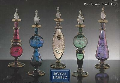 "Royal Limited Crystal Perfume Bottles Stoppers Set 5 Handcrafted Egypt 5""-6"" fr"