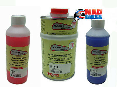 Tank Cure Fuel Tank Restoration Kit, Cleaner, Rust Remover & Epoxy Sealant 600g