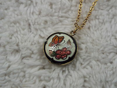 Goldtone Flower Butterfly Cloisonne Pendant Necklace (B47)
