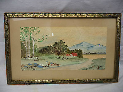 Framed Signed Watercolor Painting Red Roof Homestead River & Mountains
