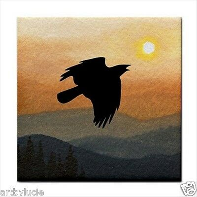 Tile Coaster from painting art Landscape 364 crow raven