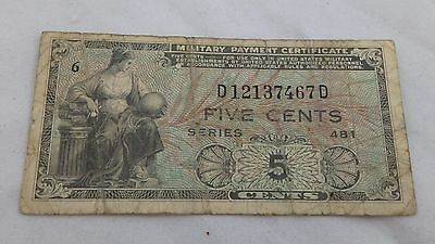 Series 481 Korean US Military Payment Certificate 5 Cent MPC *Nice Note.