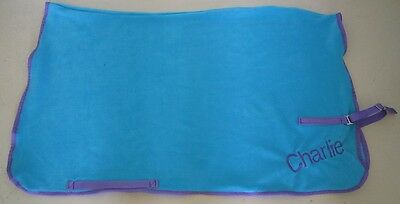 Horse Exercise or Quarter sheet FREE EMBROIDERY Choose your size SKY BLUE/TEAL