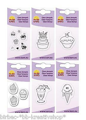 CLEAR STAMPS Mini Silikon Stempel Cart-Us Küche KUCHEN CUPCAKES EIS EISCREME