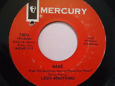 """LOUIS ARMSTRONG  """"MAME""""  45 RPM Vinyl  Record music  """"TIN ROOF BLUES""""   MERCURY"""