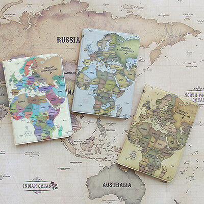 Vintage style World Map Passport Holder Cover Travel Wallet Card Case Organizer