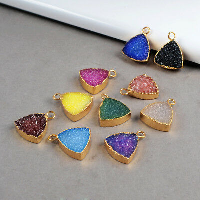 12mm Wholesale 5Pcs Triangle Agate Druzy Charm Connector Gold Plated BG0185