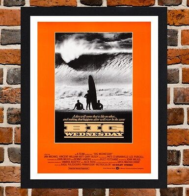 Framed Big Wednesday Surfing Movie Poster A4 / A3 Size In Black / White Frame