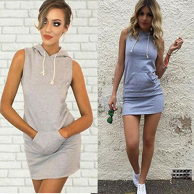 Fashion Women Lady Sleeveless Drawstring Pocket Bodycon Casual Mini Hoody Dress