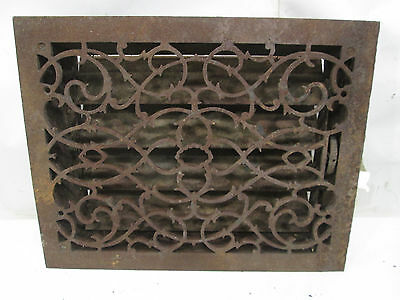 "Vintage Cast Iron Wall Grate w/Damper- Scrolling Pattern  17"" x 14"" ASG#10"