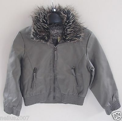Primark Girls Faux Grey Leather Detachable Faux Fur Trim Jacket Coat Age 6-7