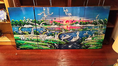 Vietnamese Lacquer Wood Painting of a Village at Sunset