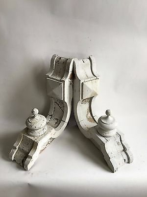 Antique Pair(2) 1890's Wood Corbels Brackets Victorian Gingerbread Shabby White