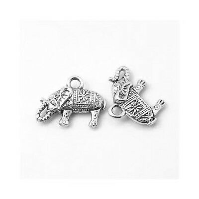 Packet of 10 x Antique Silver Tibetan 17mm Charms Pendants (Elephant) ZX07875