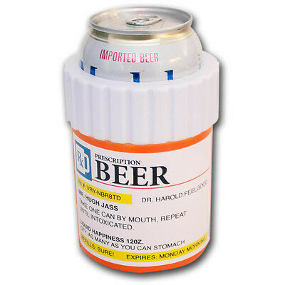 Prescription Beer Bottle Novelty Can Cooler Koozie Orange