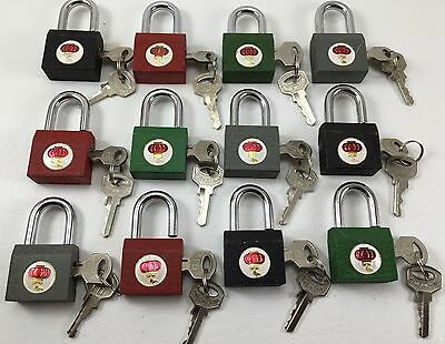 "Lot Of 12 Cast Iron Padlocks Asstd Colors 1+1/8 Inch Wide, 2"" High W/ Real Keys"