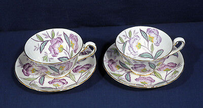 2 Royal Chelsea Bone China England Tea Cup + Saucer Sets Purple Flowers Floral
