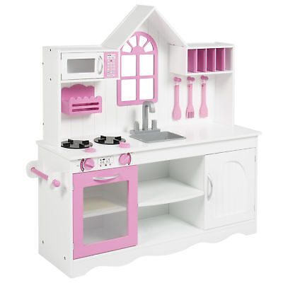 BCP Kids Wood Kitchen Toy Toddler Pretend Play Set Solid Wood Construction White