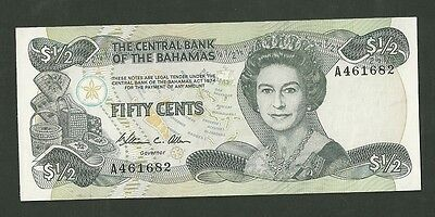 1984 Central Bank Of The Bahamas Fifty Cents currency note 42 50 cents CU
