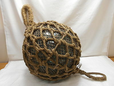 "Vintage Glass Fishing LARGE FLOAT 17"" in Natural Fibre NET ROPE Japanese #446"