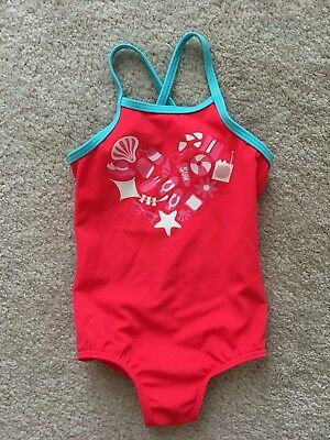 Lands' End Kids toddler girls swim suit.  1 piece. Coral with teal. Adorable!