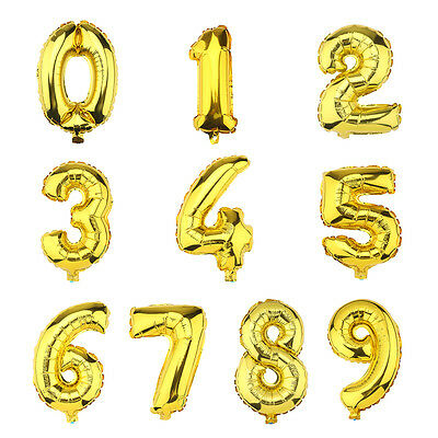 """Foil Balloons 40""""/16"""" Number Balloons 0-9 Gold Birthday Party Wedding"""