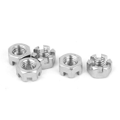 M8 x 1.25mm 304 Stainless Steel Hex Hexagon Castle Slotted Nuts 5pcs