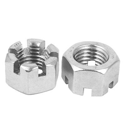M20 Threaded 2.5mm Pitch 304 Stainless Steel Hex Slotted Castle Nuts 2 Pcs