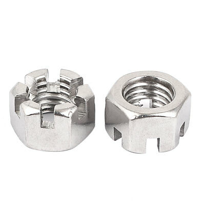 M14 x 2mm Thread Pitch DIN 935 Hex Slotted Castle Nuts Silver Tone 2 Pcs