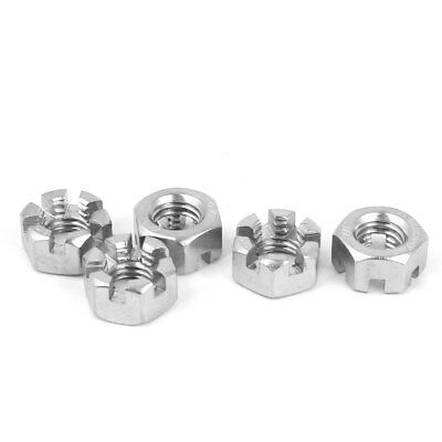 M10 x 1.5mm 304 Stainless Steel Hex Hexagon Slotted Castle Nuts DIN 935 5 Pcs