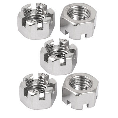 M14 Threaded 2mm Pitch 304 Stainless Steel Hexagon Slotted Castle Nuts 5 Pcs