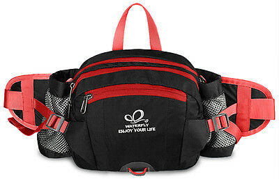 Fanny Pack Pouch Bottle Waist Bag Outdoor Sport Hiking Shoulder Backpack Black