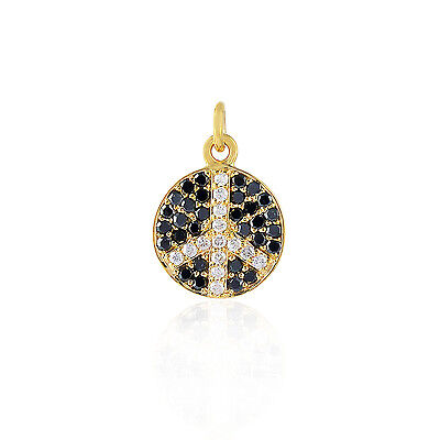 Pave Diamond Solid Yellow Gold Peace Sign Charm Pendant Gift Jewelry