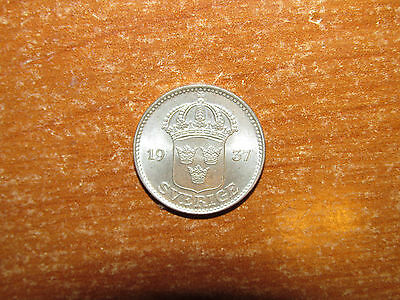 Sweden 1937 silver 25 Ore coin UNC Uncirculated nice