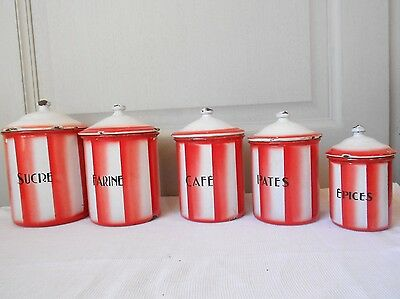 5 ANTIQUE French Enamelware CANISTERS CONTAINERS RED STRIPES