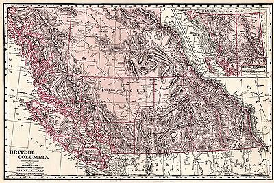 1911 Vintage BRITISH COLUMBIA Map Canada Map Gallery Wall Art 2908