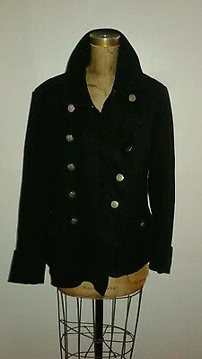 Vintage 1940's Red Cross Black Wool Coat Lots of Buttons & Big Cuffs