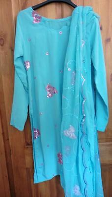 10-12 M S summer blue Kameez & dupatta embroidered pink flowers Indian Pakistani