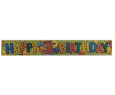 Happy 3rd Birthday Foil Party Banner (Unique #81183) 12ft Green/Celebrations