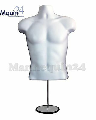 WHITE MALE TORSO MANNEQUIN FORM w/Stand +Hanging Hook, Man's Clothing Display