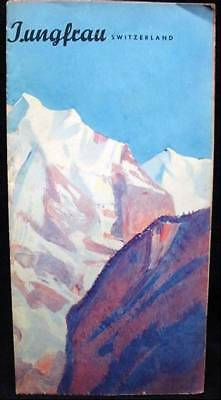 Vintage Old Jungfrau Bernese Swiss Alps Switzerland Tourist Pamphlet 1946