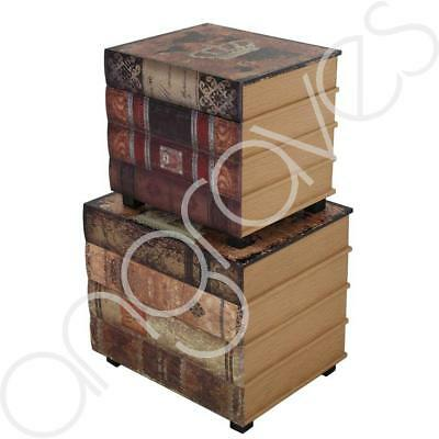 Brown Around the World Vintage Books Storage Set of 2 Chest Novels Stacked Cover